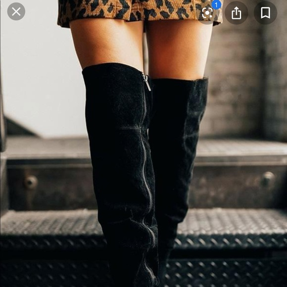 dillards Shoes | Black Faux Suede Knee